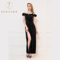 Sunvary Black Celebrity Dress V Neck Straight V Neck Floor Length Off The Shoulder Red Carpet
