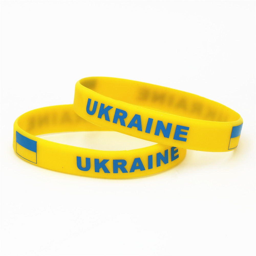 1PC Soccer Ukraine Country National Flag Wristband Yellow Football Sport Elastic Silicone Bracelets&Bangles Gifts 2018 SH227