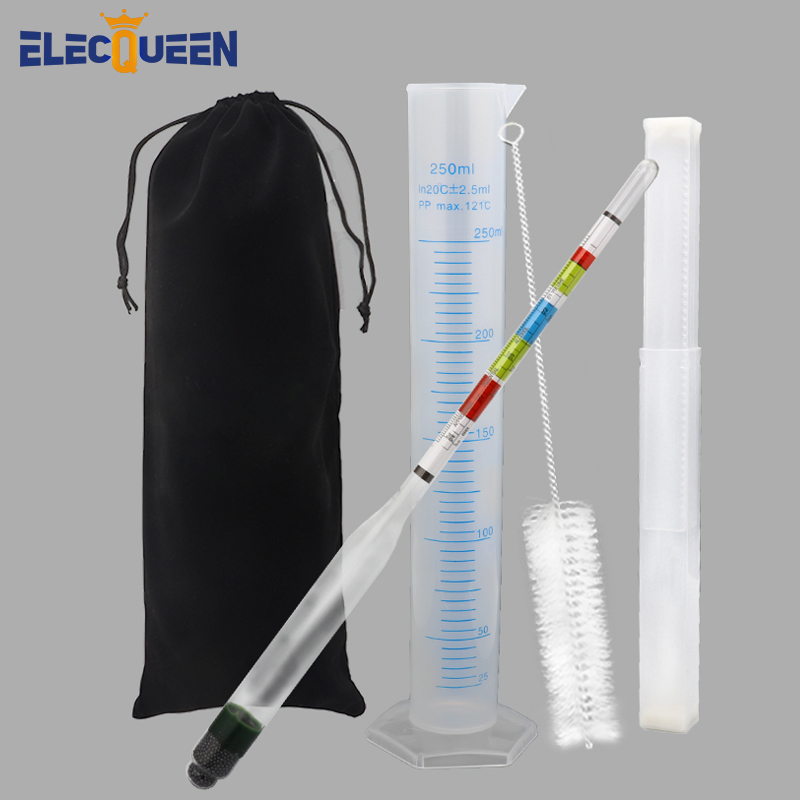 Triple Scale Hydrometer for Home Brewing Wine Making,3 Scale Hydrometer + 250ml Graduated Measuring Cylinder Brewing Accessories