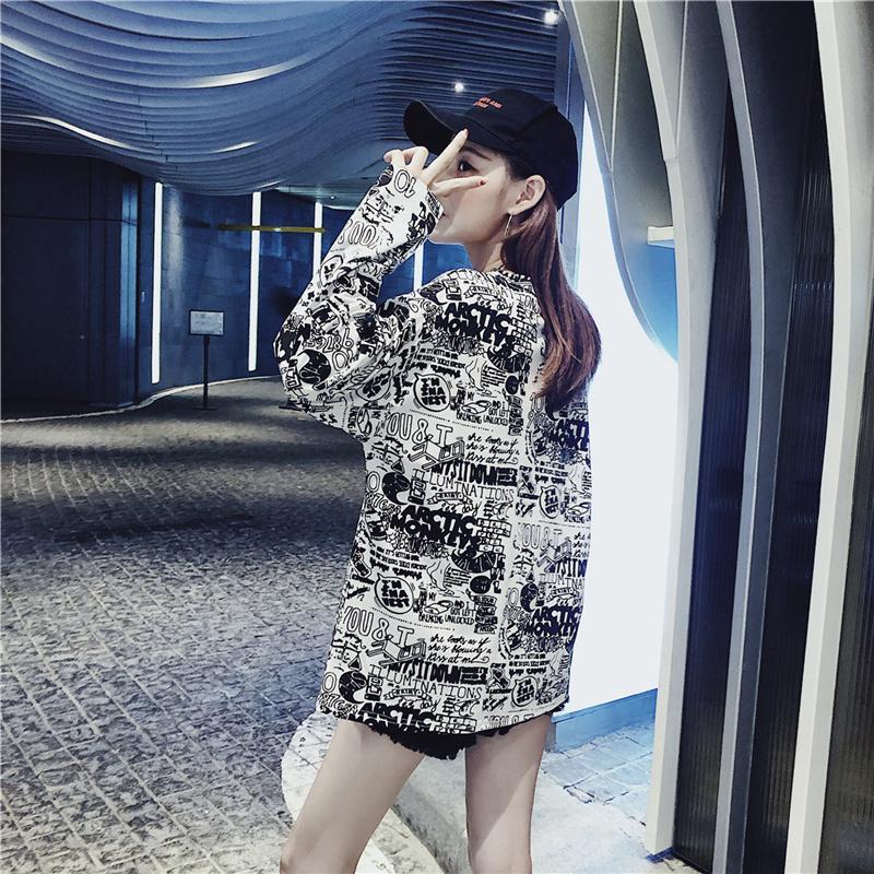 Women's Clothing Autumn Korean ulzzang Tops Casual loose hipster letter Print harajuku Tees BF O-neck long sleeve New T-Shirts 8