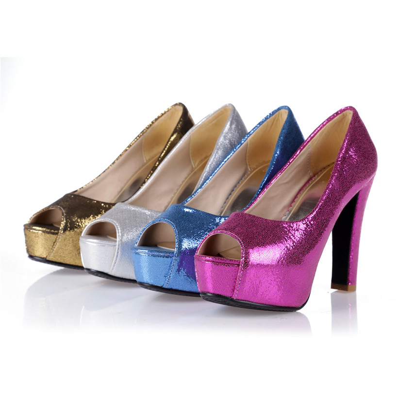 2b37221cfdf Big Size 12cm Chunky High Heel Platform Women Pumps Open Toe Glitter Bling  PU Leather Office Wedding Party Blue Gold Lady Shoes