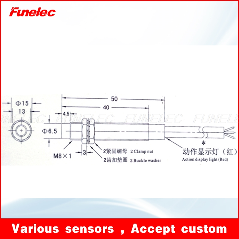 M8 Inductive Switch Proximity Sensor with Detection Distance 2mm 6-36VDC NPN No