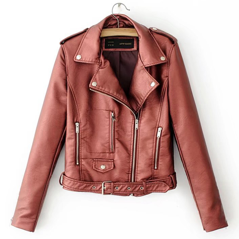 6 Colors Available Autumn Women Leather Jacket Asymmetric Zipper Korean Style Female Faux   Coat   Outwear Jackets