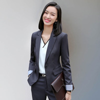 Formal Elegant female womens blazer tops and blouses business blazer and pants set Office lady jacket Work wear trouser suit set