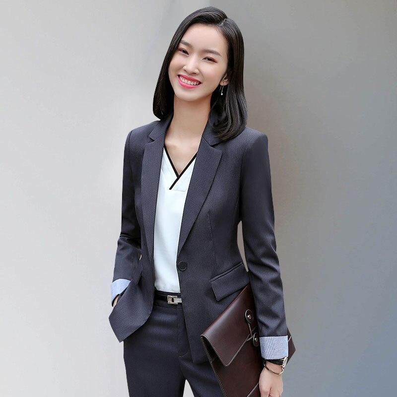 Formal Elegant female womens blazer tops and blouses business blazer and  pants set Office lady jacket 13efde91c637
