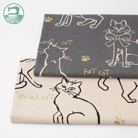 Imported imitation hemp cotton thickened fabric hand painted cat diy fabric