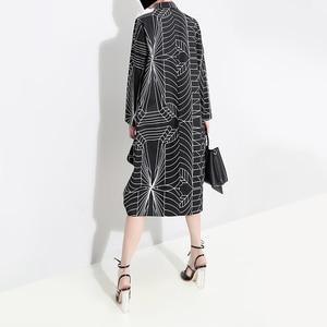 Image 5 - 2020 Korean Style Women Loose Plus Size Black Shirt Dress Long Sleeve Striped Printed Ladies Casual Midi Party Dresses Robe 4703