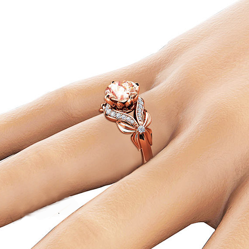 Zircon Inlaid With Hollow Butterfly Rose Gold Wedding Rings for Women Rhinestone Bow Engagement Ring for Female Jewelry in Rings from Jewelry Accessories