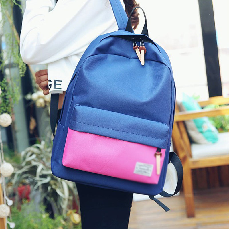 Women Casual Canvas Backpack Preppy Style Patchwork Travel Backpacks for Teenager Girls School Bags Woman Back Pack