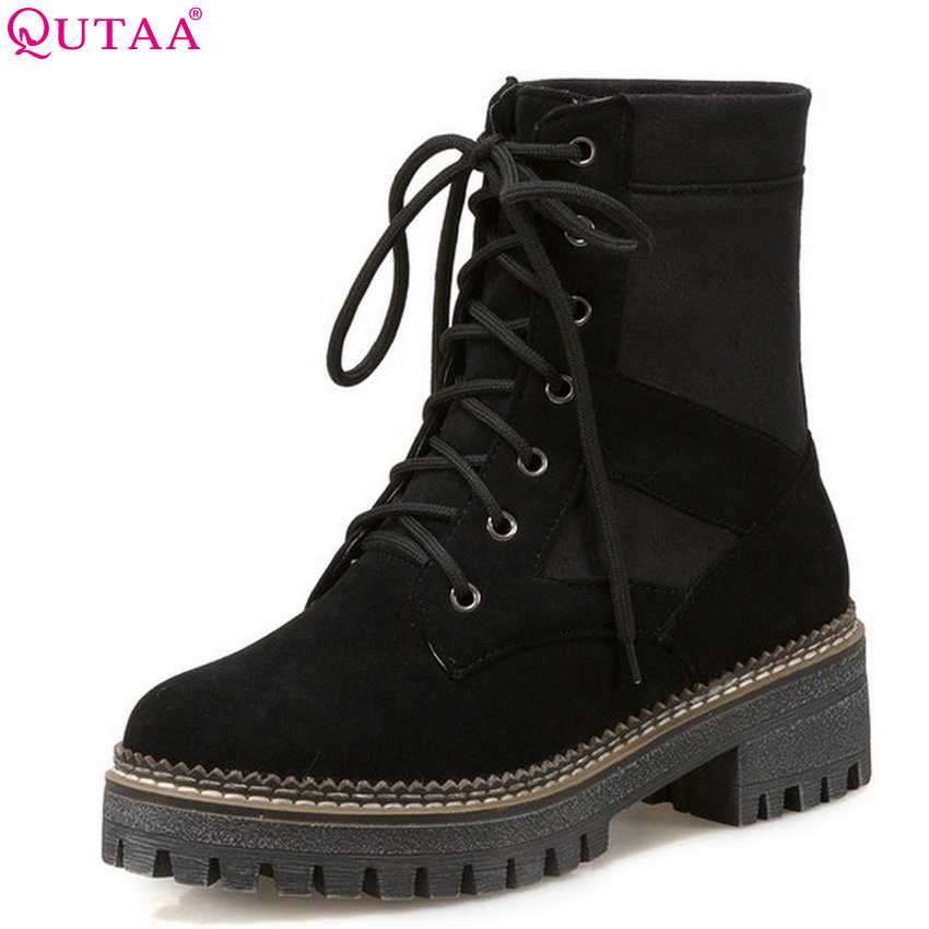 QUTAA 2019 Women Motorcycle Boots Fashion Lace Up Square High Heel Round Toe Women Winter Shoes Women Ankle Boots Big Size 34-43 beango fashion metal toe rivets women boots lace up round toe low heel motorcycle booties casual shoes woman big size 34 43eu