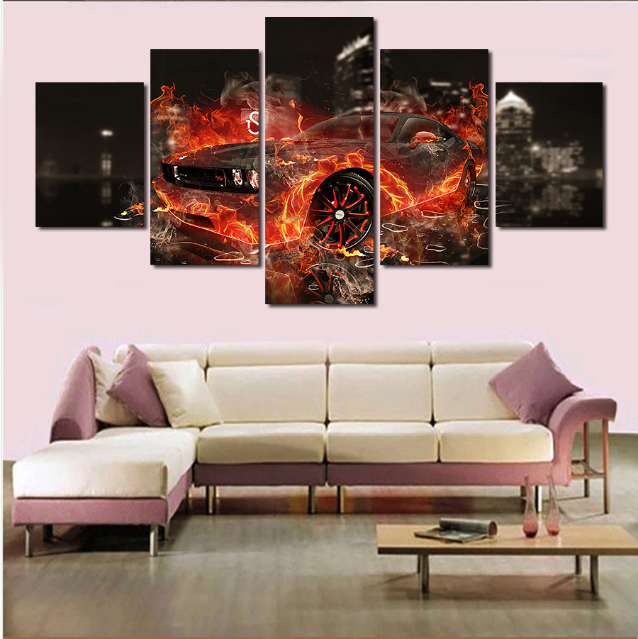 Cuadros Decoracion 5 Pcs Cool Car Large Canvas Print Painting For Living Room Wall Art Picture Gift decoration Home Unframed