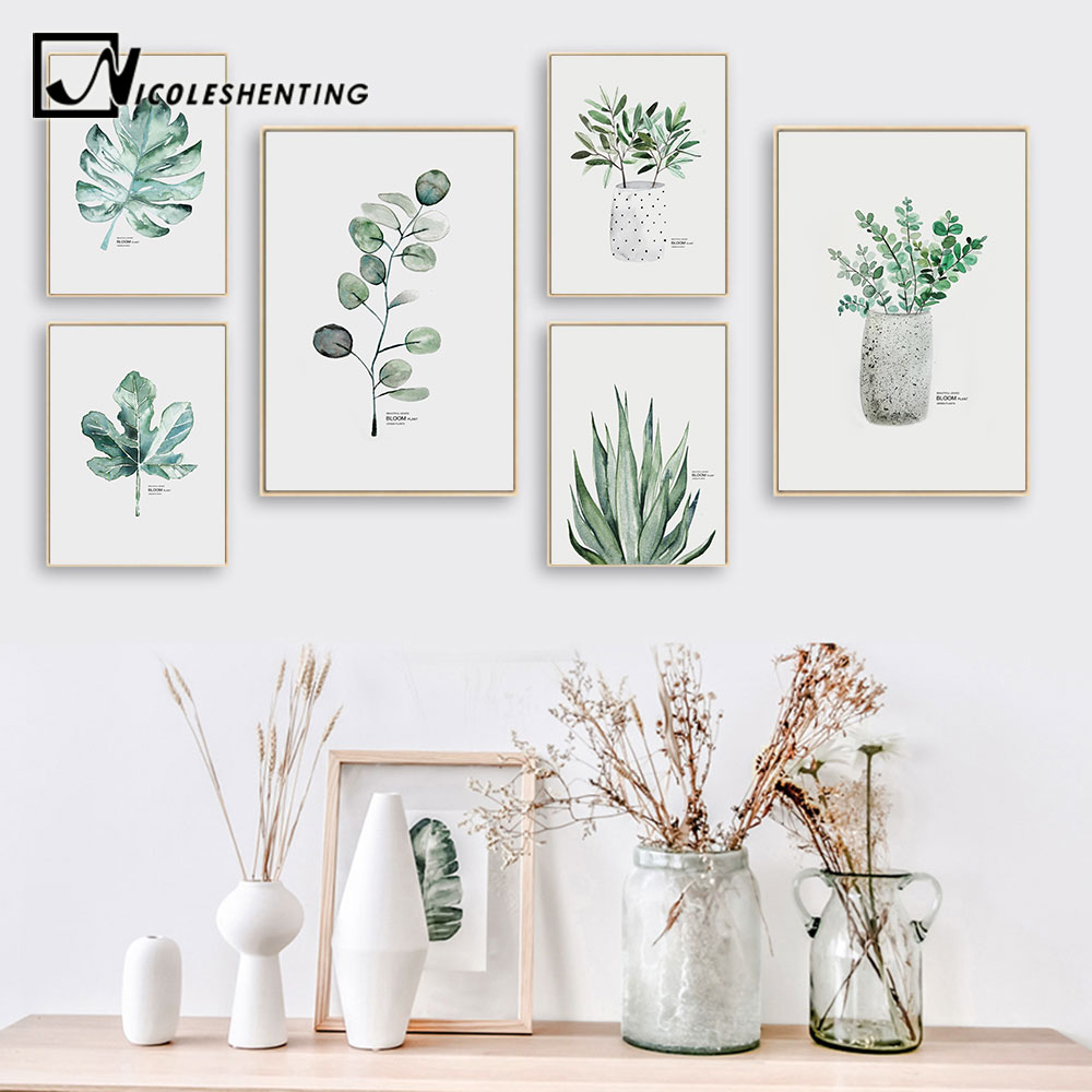 Watercolor Plants Leaf Canvas Poster Nordic Style Print Scandinavian Wall Art Painting Decoration Pictures Minimalist Home Decor
