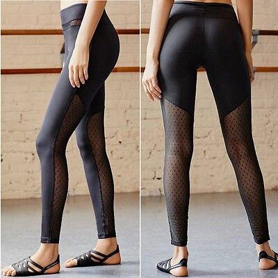 e728a340ea985 Women Mesh Workout Polka Dot Pants Leggings Lady Fitness Stretch Trousers  Legging Women clothes