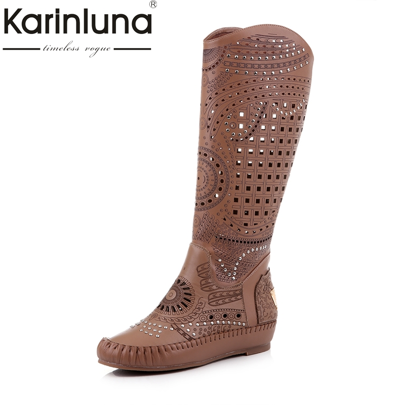 Karinluna Brand New Shoes Woman Size 34-40 Genuine Leather Cut Outs knee-high Boots Summer Boots Women Shoes Cow Leather 2015 new deluxe brand 100% high quality flat summer women knee high gladiator sandals genuine leather cut outs cover heel shoes