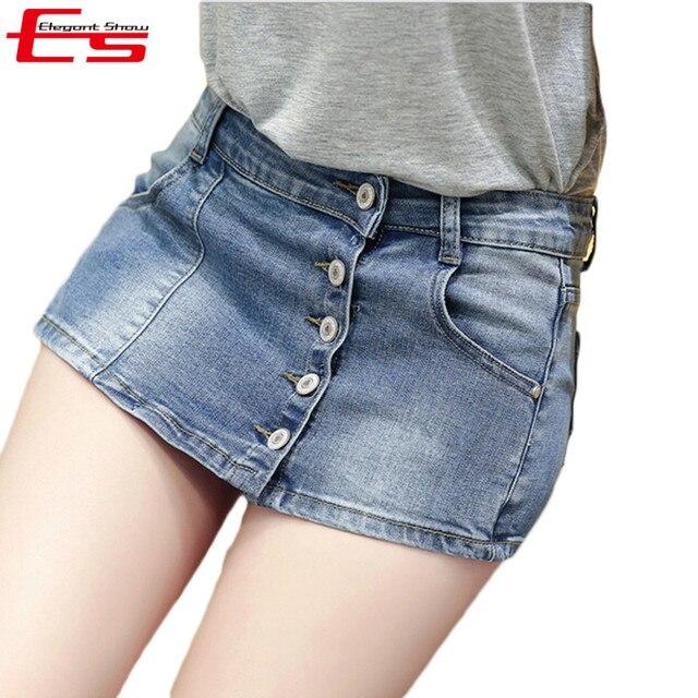 Nuevo 2017 Mujeres Del Verano de Cintura Alta Pantalones Cortos de Mezclilla Falda de La Vendimia Solo Botón Pantalones Vaqueros Falda Corta Más El Tamaño de Los Pantalones Vaqueros Cortos feminino