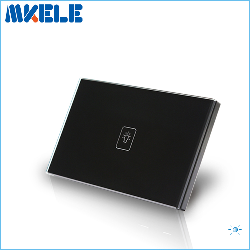 Touch Dimmer Switch US Standard Dimmer Touch Sensor Switche 1 Gang 1 Way Black Glass Panel+LED Wall Light smart home us au wall touch switch white crystal glass panel 1 gang 1 way power light wall touch switch used for led waterproof