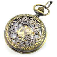2017 Steampunk Pocket Watch Men Fashion Bronze Skeleton Mechanical Hand Wind Pocket Watches With Chain Fob Watches