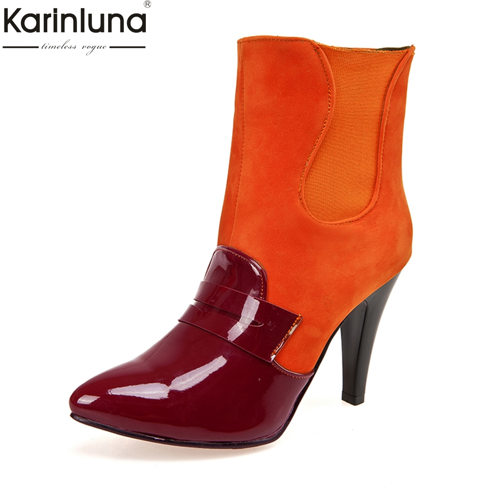 Karinluna large Size 33-45 Hot Sale Add Fur Winter Boots Woman Shoes Wholesale Ankle Boots Thin High Heels party Shoes Woman karinluna 2018 large size 32 43 slip on chelsea boots casual square heels add fur ankle boots rivets women shoes woman winter