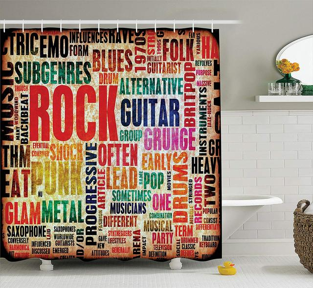 Music Shower Curtain Retro Rock And Roll Symbol Lettering In Grunge Distressed Colors Back Then Sound Theme Bathroom Decor