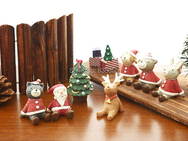 Set of 10 Assorted Christmas Baby Lovely Resin Small Animals Seating ...