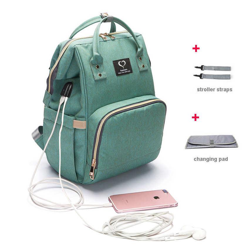 Сумка для подгузников большая емкость USB сумка для подгузников водонепроницаемый дорожный рюкзак для беременных сумка для ухода за ребенко...