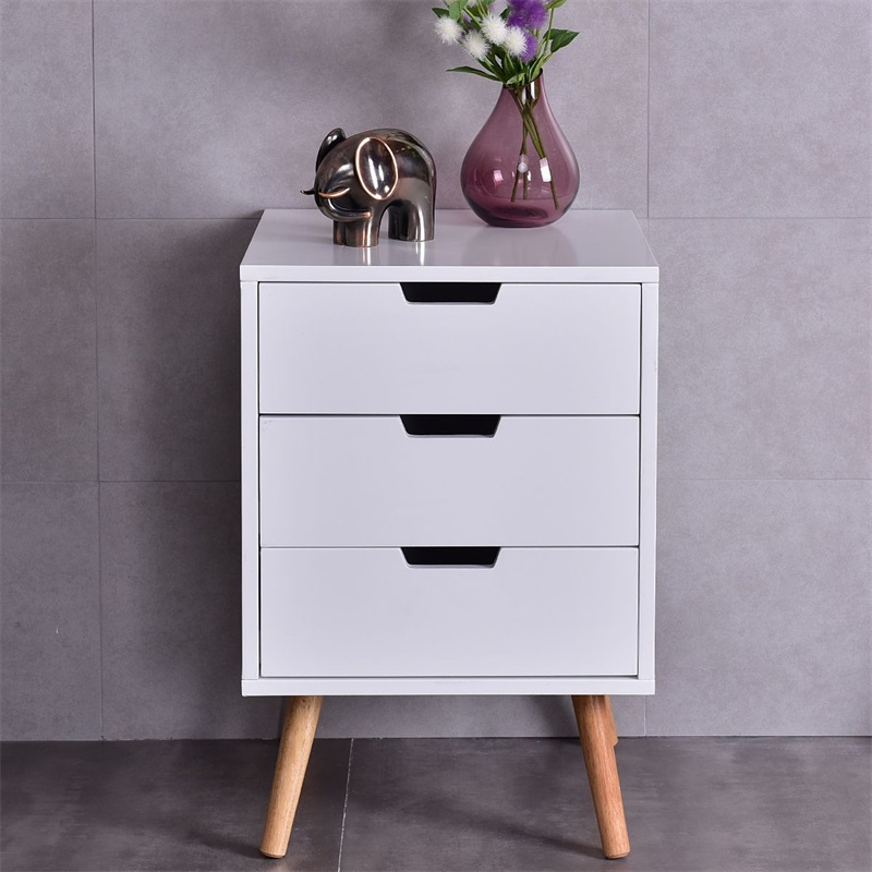 White Wooden Side End Table Nightstands with 3 Slide-out Drawer Organizer Bedroom Furniture Bedside Table HW54217