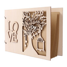 Wedding Decoration Signature Guest Book Wooden Tree Letters Personalised Guest Books 20 Pages Scrapbook Album(China)