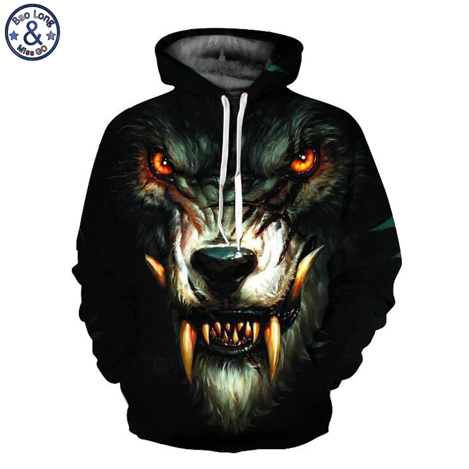 Mr.BaoLong funny design red eyes wolf 3D printed hooded sweatshirts men new drawstring hooded hoodies man QL232