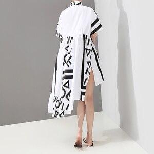 Image 5 - Новинка 2020, корейский стиль, женское летнее стильное белое платье рубашка миди с геометрическим принтом, женское Повседневное платье размера плюс, Robe Femme 5114