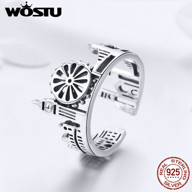 WOSTU New Arrival 925 Sterling Silver Punk London City Rings For Women Vintage Ring Unique Romantic Party Jewelry Gift FIR474