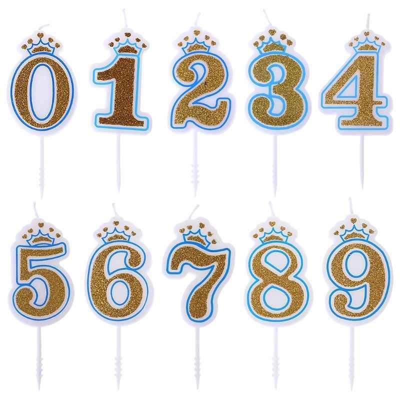 1 Pcs จำนวน 0123456789 Blue และ Pink Shinning Sliver เทียนมงกุฎสำหรับ Kid Birthday Party เทียนจำนวนเค้กตกแต่ง