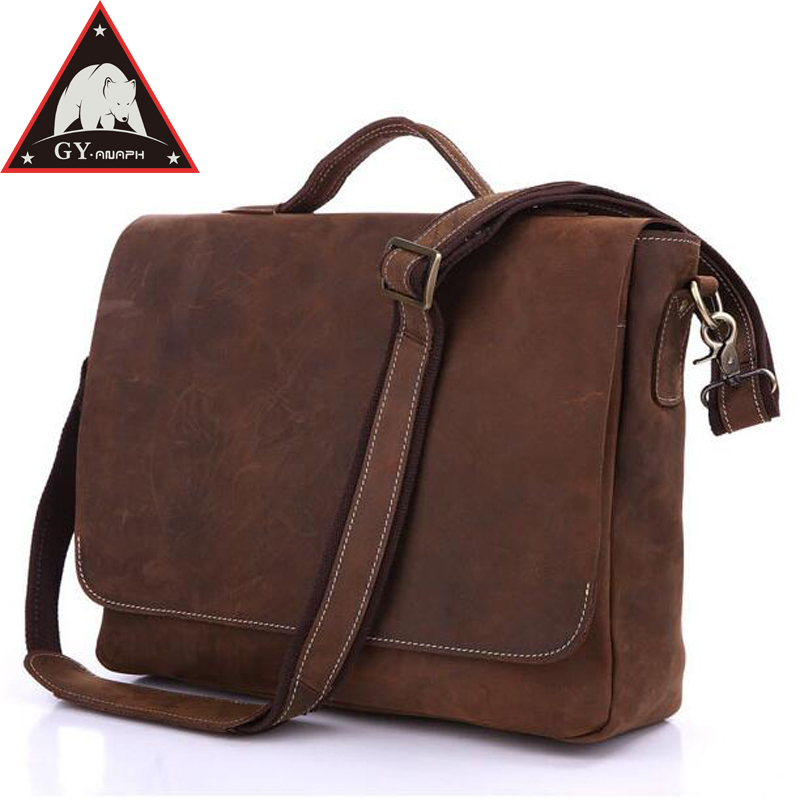 ANAPH Crazy Horse Men's Leather Briefcases, College Satchels Attached 15 Inch Laptop Case, Flap Cover Messenger Bags, In Brown цена и фото