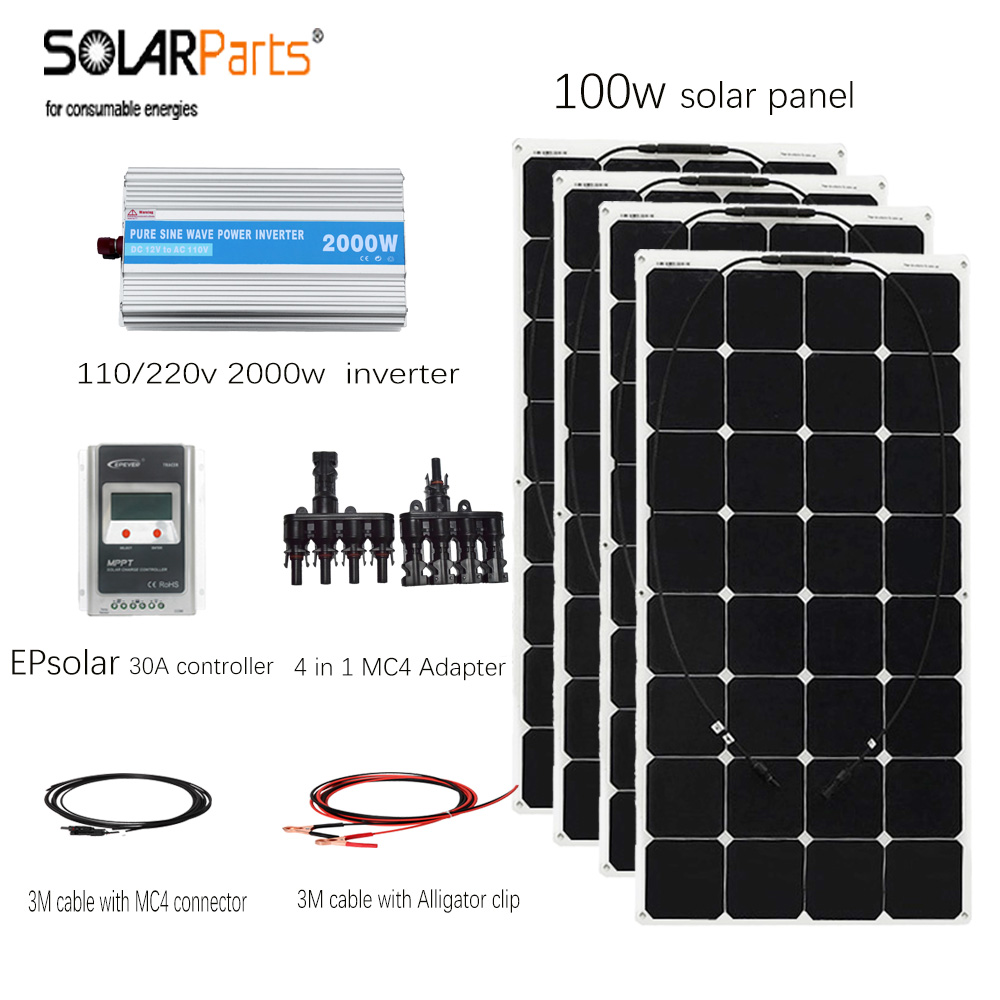 цены  Solarparts 4*100w flexible solar panel 400w solar system cell EPsolar 20A controller solar cable with MC4 connector for yacht/RV