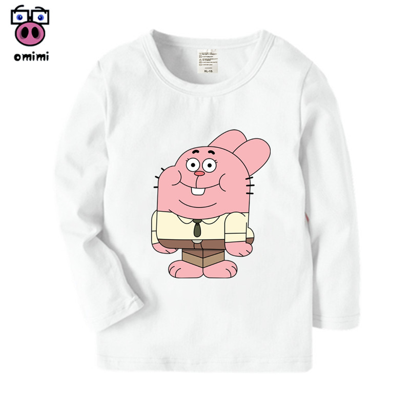 Kid's Long Sleeve The Amazing World Of Gumball Cartoon Printed T Shirt Boys Girls Autumn Casual Winter Tops Kids Cute T-Shirt casual slim fit v neck printed long sleeve t shirt for men