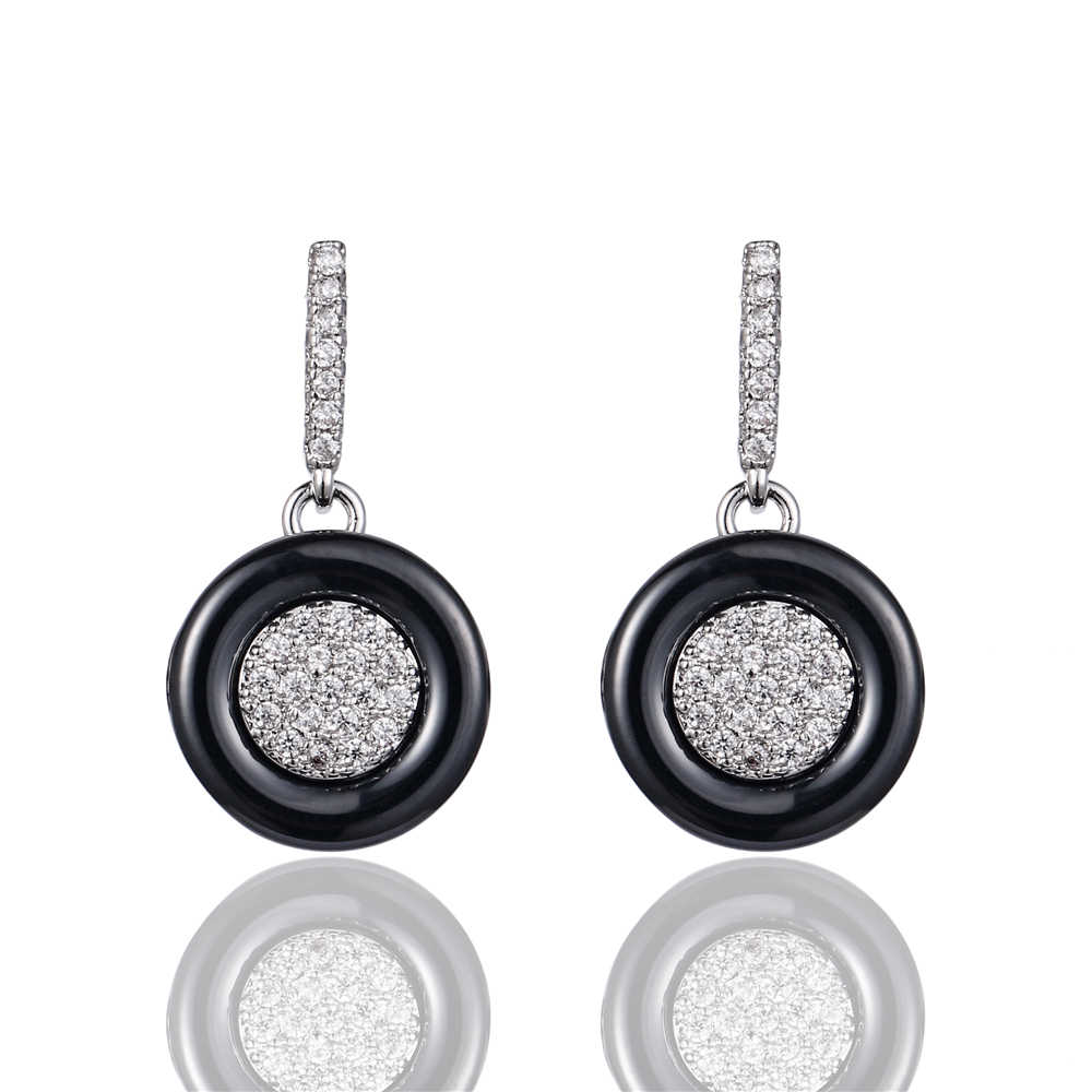 Black Ceramic Earrings Minimalist Simple Round Earrings Pave AA Cubic Zirconia Silver Color Cute Ceramic Stud Earrings For Women