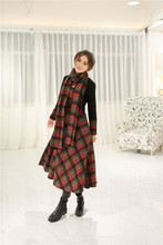 women dress winter dress Slim new winter long section of stitching woolen Scottish tartan dress with