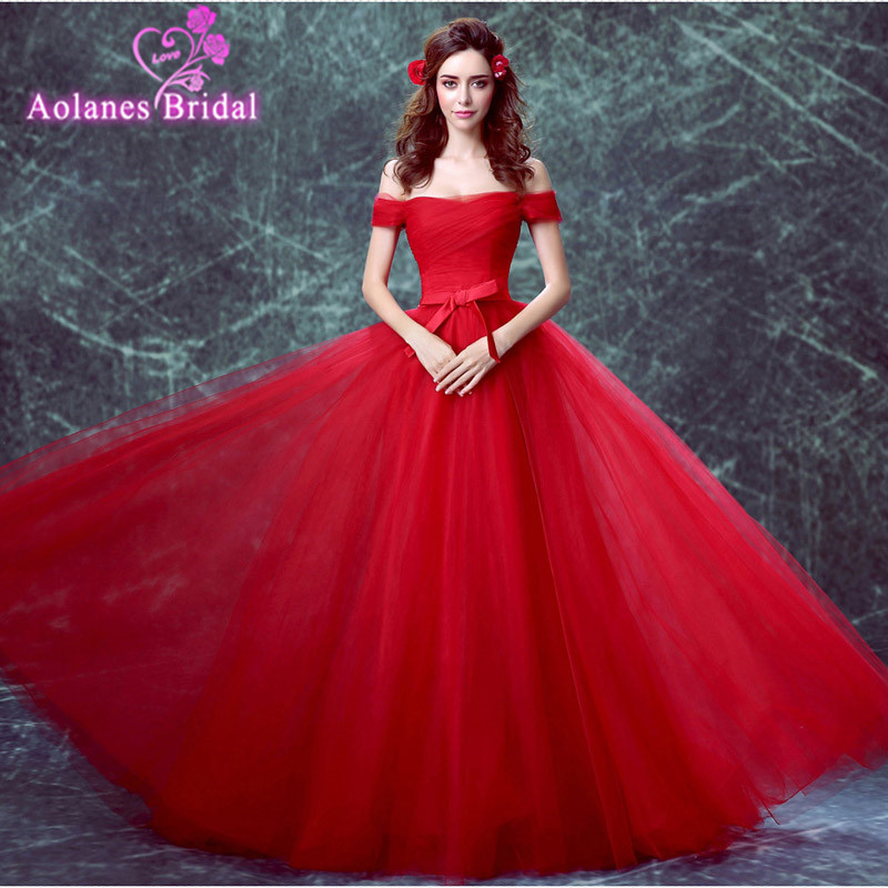 AOLANES Red Colors Available Evening Dresses Formal Boat Neck Long Sexy Red Women Party 2017 Special Occasion Free Shipping