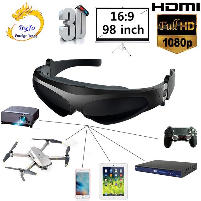 Nowe okulary wideo FPV 3D 2 metry odległość 98 cali wirtualny wyświetlacz duży ekran obsługujący wejście IOS i Android HD 1080P