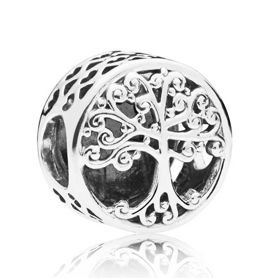 Authentic S925 Sterling Silver DIY Jewelry Family Roots Charm fit Pandora Bracelet Bangle Love Hearts OpenworkAuthentic S925 Sterling Silver DIY Jewelry Family Roots Charm fit Pandora Bracelet Bangle Love Hearts Openwork