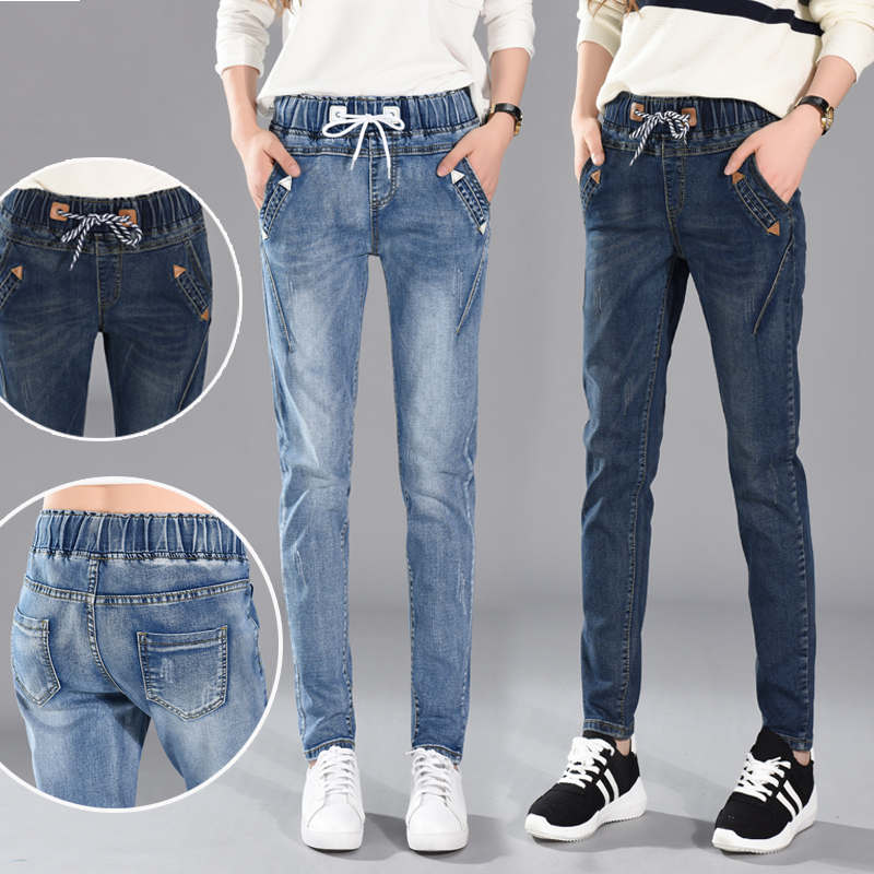Plus Size 5XL   Jeans   Woman Lace Up Boyfriend   Jeans   Women Harem Pants Stretch   Jeans   Femme Long Pants Denim Trousers Women C4532