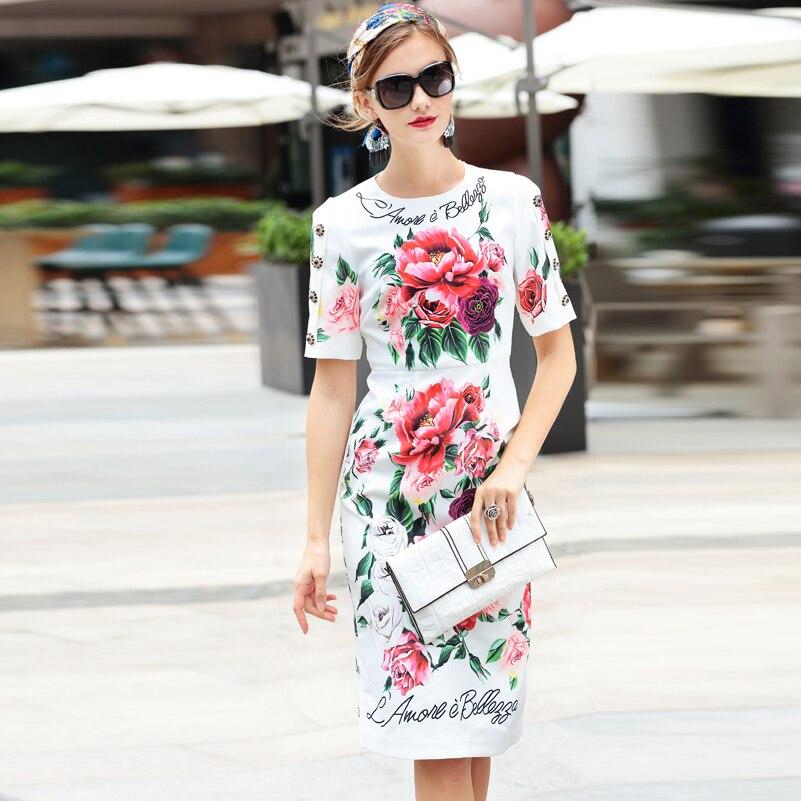 عالية الجودة 2019 جديد مصمم أزياء فستان صيفي المرأة قصيرة الأكمام زهرة طباعة أنيقة أزرار كريستالية منتصف العجل اللباس-في فساتين من ملابس نسائية على  مجموعة 1