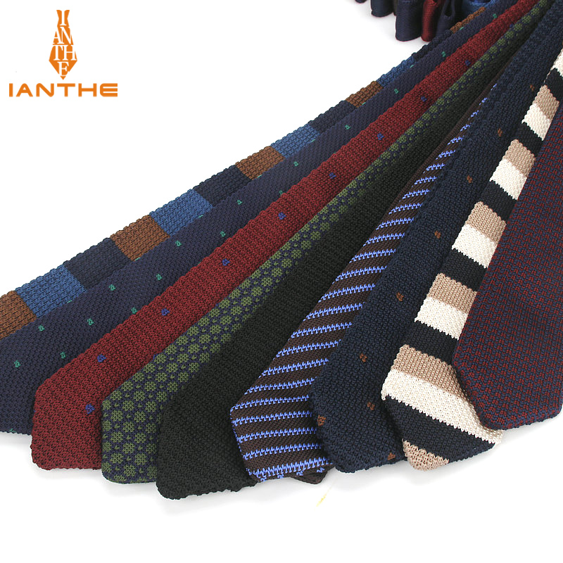 Fashion Slim Neck Tie Wedding Knitt Necktie For Men Skinny Knit Ties Man Gravata Navy Solid Stripe Dot Narrow Knitted Neckties