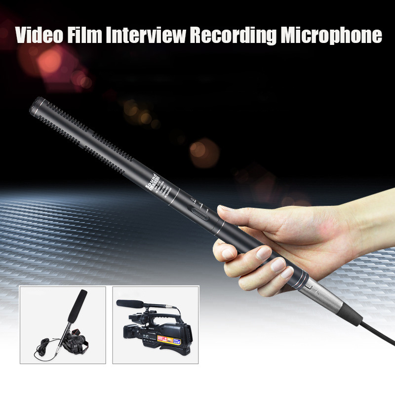 SOUND G18 Bi-directional Interview Microphone For Video Camera SLR Camera DV Recording Handhold Microphone With Clip Holder