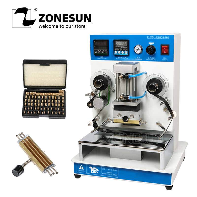 ZONESUN ZY-RM3 Automatic hot foil Stamping Machine,leather LOGO Creasing machine,LOGO stamper,Hot words machine used in leather logo coding automatic pneumatic dialling stamping machine