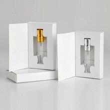 Cajas de papel personalizables y botella de Perfume de cristal con atomizador, embalaje de vacío de Perfume, logotipo personalizado para regalo, 5ML, lote de 50 unidades
