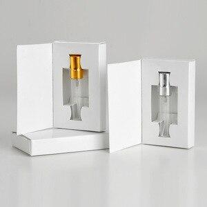 Image 3 - Unids/lote de 100 cajas de papel personalizables y botella de Perfume de cristal con atomizador, embalaje al vacío de Perfume, logotipo personalizado para regalo, 5ML