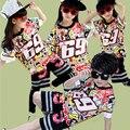 Verano de Los Niños Chicos Sistemas de la Ropa de Danza de La Calle Boy Girl Fashion 2 unids Trajes de la Camiseta + Pantalones Cortos Hip Hop Jazz Estilo Niños Twinset