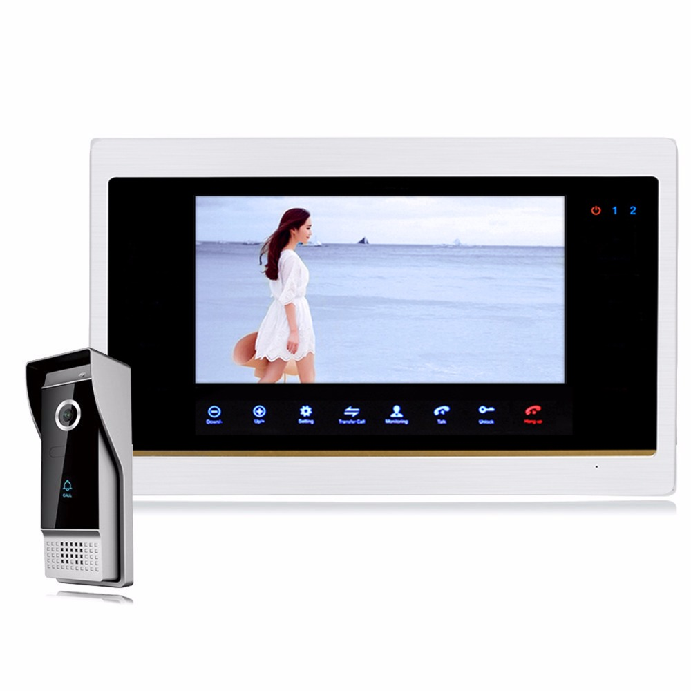 7 TFT LCD Wired Video Intercom Doorbell Video Door Phone with 1200TVL Outdoor IR Camera F1411D wired video door phone intercom doorbell system 7 tft lcd monitor screen with ir coms outdoor camera video door bell