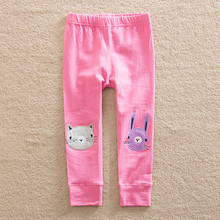 Flags wholesale 2017 new style baby girl clothes cartoon flower pattern 100% cotton girls pants girls clothes YK7103
