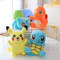 4Pcs/Set Anime Figure Soft Plsuh Stuffed Animal Doll Anime Squirtle Bulbasaur Charmander Kids Toys